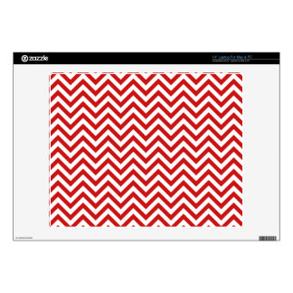 Red and White Zigzag Stripes Chevron Pattern Laptop Skin