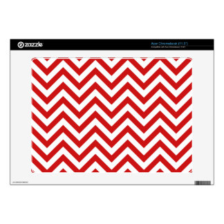Red and White Zigzag Stripes Chevron Pattern Skin For Acer Chromebook