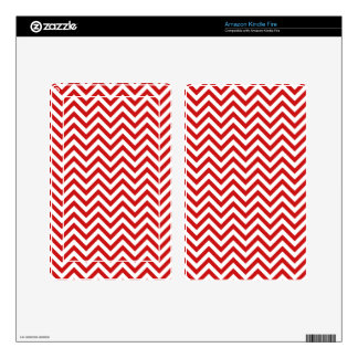 Red and White Zigzag Stripes Chevron Pattern Skin For Kindle Fire