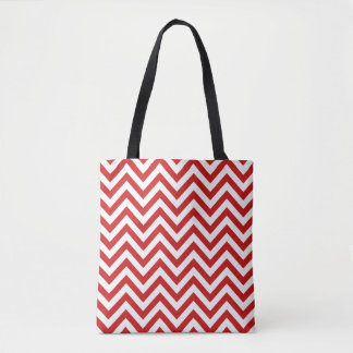 Red and White Zigzag Stripes Chevron Pattern Tote Bag