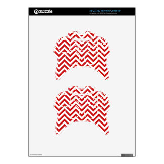 Red and White Zigzag Stripes Chevron Pattern Xbox 360 Controller Skin