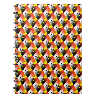 Red and Yellow 3D Diagonal Pattern Notebook