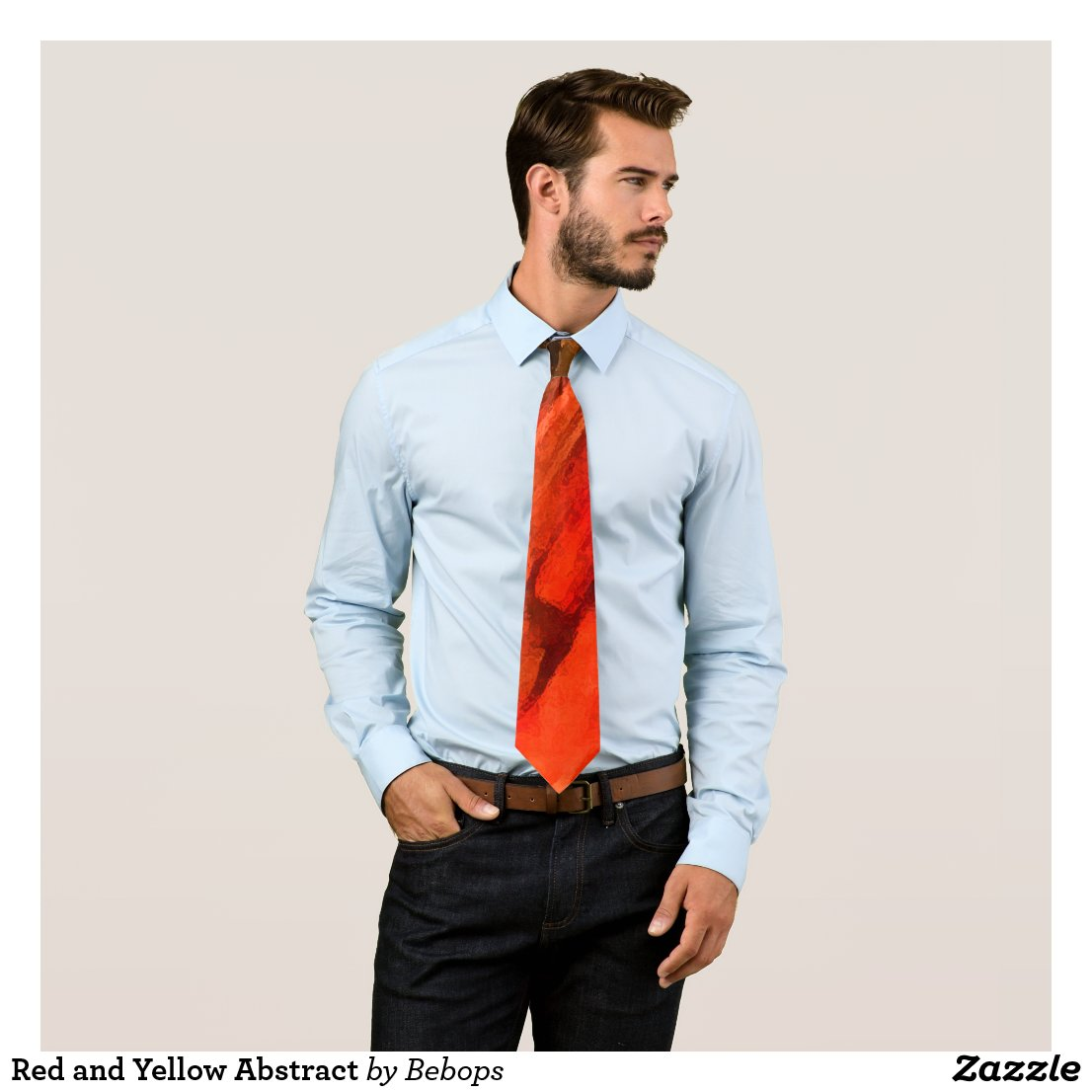 Red and Yellow Abstract Tie