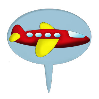 Red and Yellow Airplane Cake Topper