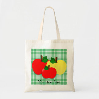 Red and Yellow Apples on Green Checkered Plaid Tote Bag