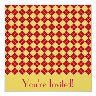 Red and Yellow Argyle Invitation