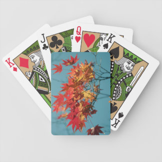 Red and yellow autumn leaves on a blue background card deck