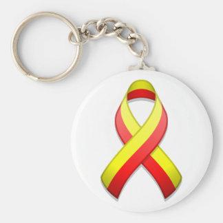 Red and Yellow Awareness Ribbon Keychain