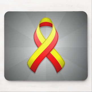 Red and Yellow Awareness Ribbon Mousepad