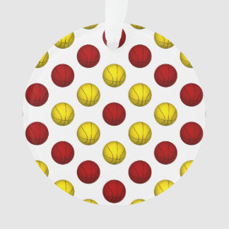 Red and Yellow Basketball Pattern Ornament