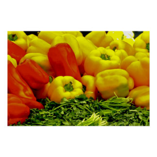 Red and Yellow Bell Peppers Poster