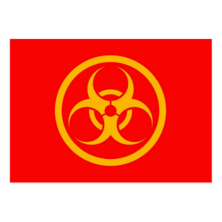 Red and Yellow Bio Hazard Circle Business Card Templates