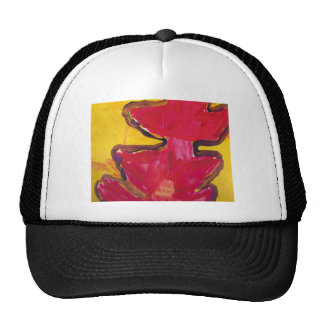 Red and Yellow Bold Abstract Art Trucker Hats