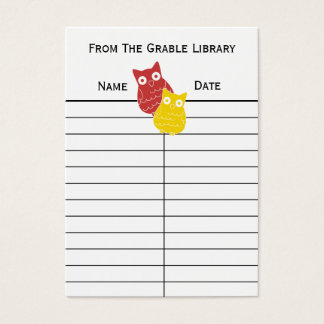 Red and Yellow  Book Return Cards