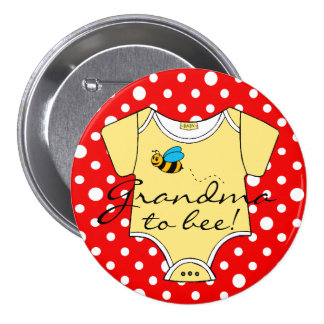 Red and Yellow Bumble Bee Grandma To Bee Button