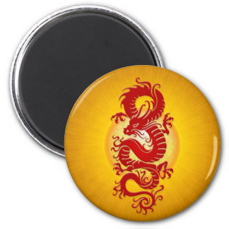 Red and Yellow Burst Chinese Dragon 2 Inch Round Magnet
