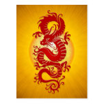 Red and Yellow Burst Chinese Dragon Postcard