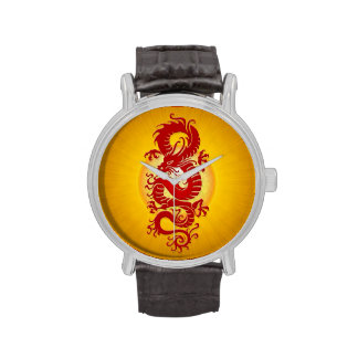 Red and Yellow Burst Chinese Dragon Wristwatches