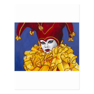Red and Yellow Carnival Jester Postcard