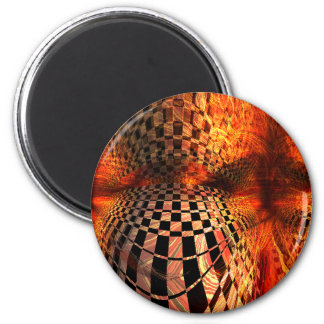Red And Yellow Checkerboard Magnet