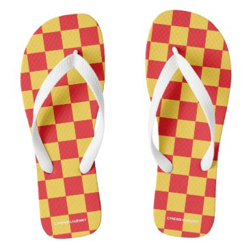 Beach Themed red and yellow checkered flip flops