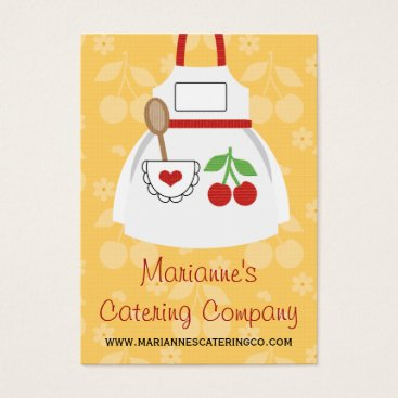 Professional Business Red and Yellow Cherry Heart Apron Business Cards