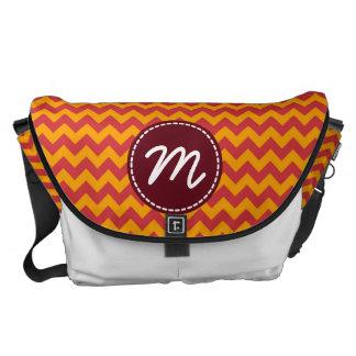 Red and Yellow Chevron Pattern Custom Monogram Messenger Bag