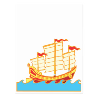 Red and yellow Chinese Junk Postcard