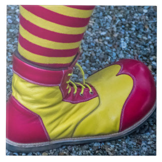 Red and yellow clown shoe ceramic photo tile