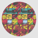 Red and Yellow Comic Art Classic Round Sticker