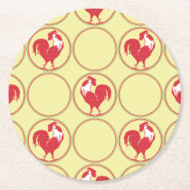 Red and Yellow Country Rooster Pattern Round Paper Coaster