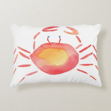 Beach Themed Red and yellow Crab Accent Pillow