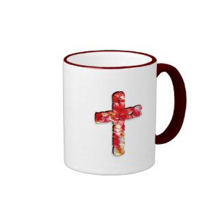 Red and Yellow Crystallized Cross Mug