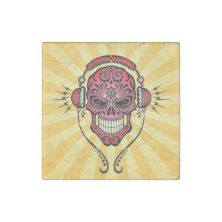 Red and Yellow DJ Sugar Skull with Rays of Light Stone Magnet