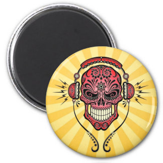 Red and Yellow DJ Sugar Skull with Rays of Light Refrigerator Magnets