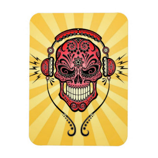 Red and Yellow DJ Sugar Skull with Rays of Light Flexible Magnets