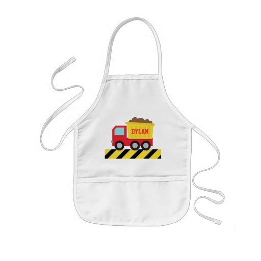 Red and Yellow Dump Truck, For Kids Apron