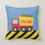 Red and Yellow Dump Truck, For Kids Throw Pillow
