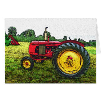 Red and Yellow Farm Tractor Card