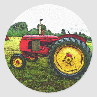 Red and Yellow Farm Tractor Classic Round Sticker