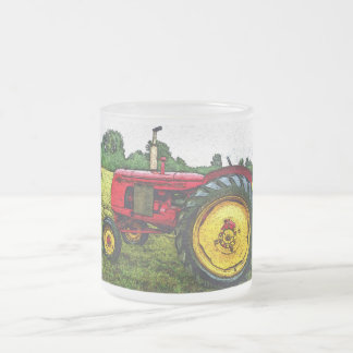 Red and Yellow Farm Tractor Frosted Glass Coffee Mug
