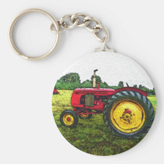 Red and Yellow Farm Tractor Key Chains