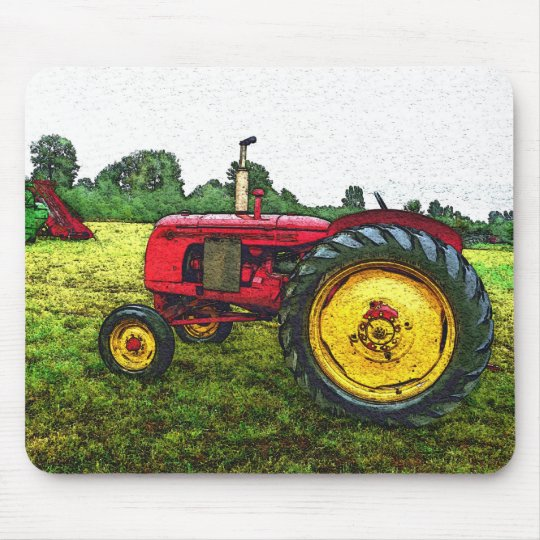 Red and Yellow Farm Tractor Mouse Pad