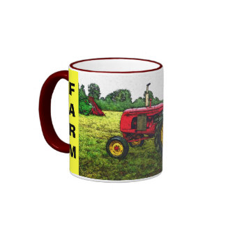 Red and Yellow Farm Tractor Ringer Coffee Mug