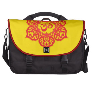 Red and Yellow Floral Om Laptop Bags