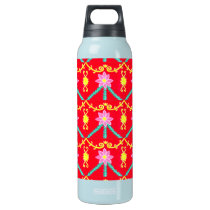 Red and Yellow Floral Tile Pattern Insulated Water Bottle