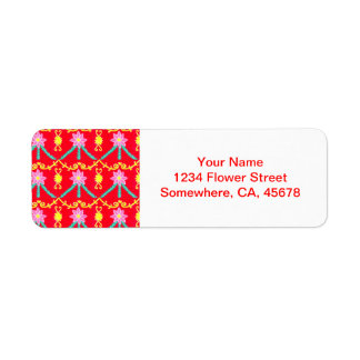 Red and Yellow Floral Tile Pattern Label
