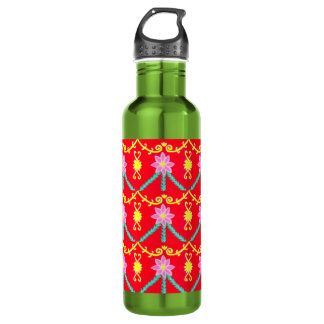 Red and Yellow Floral Tile Pattern 24oz Water Bottle