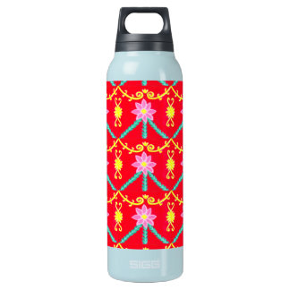 Red and Yellow Floral Tile Pattern 16 Oz Insulated SIGG Thermos Water Bottle