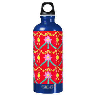 Red and Yellow Floral Tile Pattern SIGG Traveler 0.6L Water Bottle